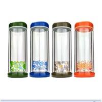 富光彩艺耐热双层玻璃杯260-200/280 四色带盖刻花水杯 女士杯子 .