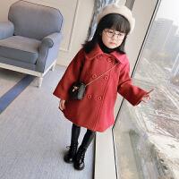 童装女童装2017韩版新款呢子大衣宝宝秋加厚毛呢外套儿童上衣 酒
