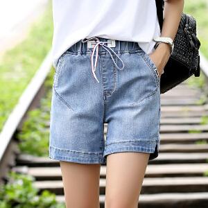 Freefeel2018夏季新款牛仔短裤女士松紧腰抽绳热裤休闲装XZZ812