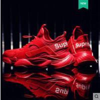 ins超火的厚底老爹鞋男士运动休闲鞋增高纯色男鞋子韩版红色潮鞋