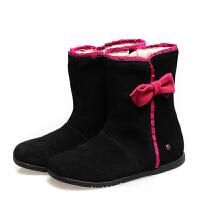女童靴子高筒真皮靴 黑色 US8/鞋垫长15厘米