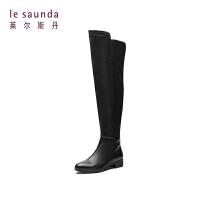 莱尔斯丹 专柜款欧美秋冬季低跟长筒靴骑士靴女长靴 8T34806