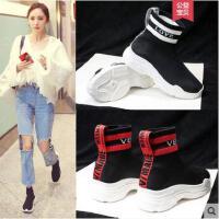 夏季新款弹力袜子鞋女韩版ulzzang潮百搭袜鞋高帮运动鞋女鞋