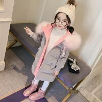 女童棉衣装2017新款儿童金丝绒中长款棉袄羽绒大童洋气外套
