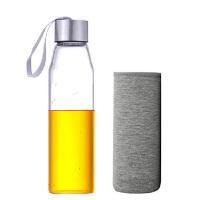 550ML耐热玻璃水瓶带盖茶杯便携水杯杯子女透明水瓶学生运动男韩版创意车载玻璃杯子矿泉水瓶