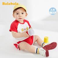 巴拉巴拉宝宝夏装女婴儿短袖套装男童潮装纯棉运动装洋气