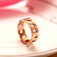 个性链条做旧男女戒指 钛钢镀18k玫瑰金彩金情侣指环