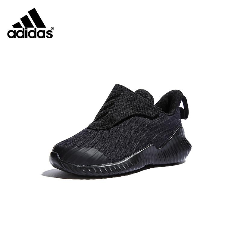 【到手价:221.4元】阿迪达斯(adidas)童鞋男女童冬款飞机款型魔术贴设计儿童运动鞋跑步鞋AH2640 黑色