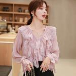 雪纺衫 女士V领荷叶边喇叭袖雪纺衫2020年秋季新款韩版时尚潮流女式清新甜美袖女装打底衫
