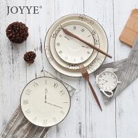 Joyye 英式手绘釉下彩陶瓷西餐牛扒盘反边菜盘浮雕钟形圆碟调味罐