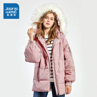 [超级大牌日每满299-150]真维斯棉服女2018冬装新款女士韩版宽松连帽棉衣外套中长款面包服