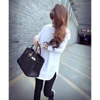 韩版秋冬加绒加厚修身纯棉T恤女中长款白色长袖侧开叉上衣打底衫