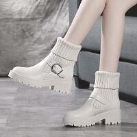 �n版秋冬季真皮毛�口短靴女平底厚底白色�R丁靴�W生加�q雪地靴女