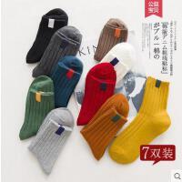 袜子女韩版中筒袜女学院风贴标袜糖果色女袜网红时尚潮流户外新品纯棉袜子毛线袜