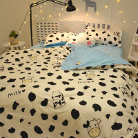 儿童四件套女孩公主风粉色可爱1.2床单被套三件套床上用品夏 白色 萌萌牛