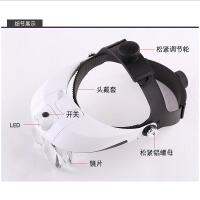 高倍眼戴型眼镜放大镜眼睛头戴式带LED灯5倍高清老人阅读老年专用扩大镜60手机维修100便携1000