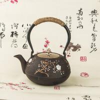 铁壶铸铁泡茶烧水壶煮茶器电陶炉茶炉功夫茶具套装铸铁茶壶纯手工无涂层缠麻绳带滤网礼品