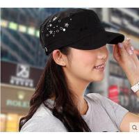 户外女帽铆钉鸭舌帽子春夏天女士遮阳平顶军帽时尚运动韩版潮