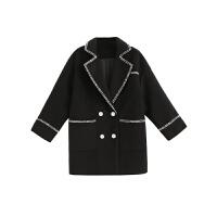 小香风冬季森系呢子大衣韩版毛呢宽松加厚黑色休闲西装外套女ins 黑色