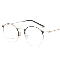 无螺丝眼镜框女半框超轻记忆钛圆形5克眼睛架大脸配眼镜3010