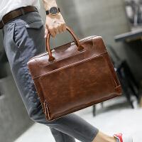 新款男士手提包时尚潮流公文包疯马皮男包商务简约斜挎包潮流 咖啡色