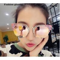 时尚椭圆半框偏光彩膜太阳镜 透明框架 复古潮流户外墨镜 休闲旅游眼镜