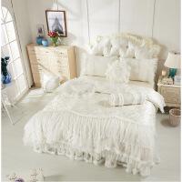 君别韩版 白色公主花边床裙 四件套蕾丝 床单结婚庆床上用品 爱恋 米白