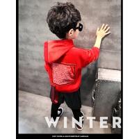 秋韩版潮中大男童纯棉加绒卫衣套头上衣T恤圆领儿童打底衫 红色 年初八发货哦