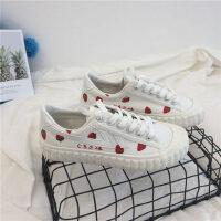 复古百搭基础小白鞋草莓帆布鞋女学生夏季平底休闲饼干鞋