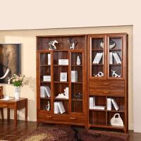 实木书柜书架组合简约现代落地书橱置物架带玻璃门经济型书柜