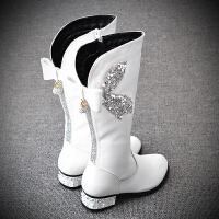女童靴子高筒靴真皮儿童长靴女2018秋冬新款韩版公主马丁靴中大童