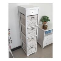 夹缝小收纳柜实木床头柜斗柜边角窄柜实木藤框多层抽屉式小床头柜 整装