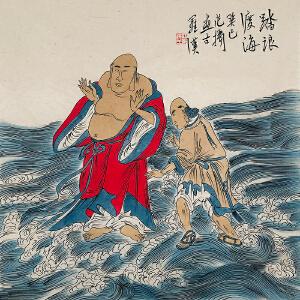 中国美术家协会会员 范扬《踏浪渡海》LL546