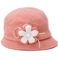 帽子女士冬季羊毛呢帽 英伦礼帽花朵保暖盆帽