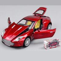 仿真跑车合金车模 儿童男孩玩具声光回力轿车小汽车模型 默认酒红色或联系客服