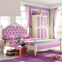 单人床欧式粉实木家具套房欧式床女孩公主床1.21.5米 +转椅 其他不带抽屉