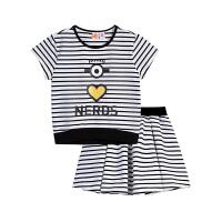 【2件5.5折到手价:87】小猪班纳童装小黄人IP女童连身服2019夏季针织套装