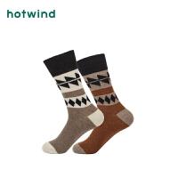 Hotwind2018年冬季新款男士菱格高帮袜P083M8405