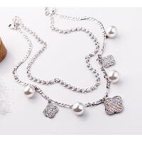 项链 女 时尚  人造珍珠1四叶草吊坠 奥地利水钻 欧美时尚