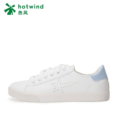 热风hotwind2018秋新款学院风小清新女士星星休闲鞋深口系带小白鞋H14W7305清新撞色 活力小白鞋
