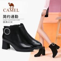 camel骆驼秋冬季新款短靴真皮通勤粗跟简约保暖加绒女鞋黑色靴子