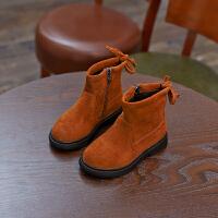 2018秋冬款儿童雪地靴加绒女童靴子短靴中筒靴宝宝绒面棉鞋棉靴潮