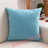 平躺腰垫床头靠背大抱枕套沙发靠垫套腰枕含芯靠枕 天蓝色 植绒布