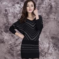 2018新款春秋时尚新款包臀女士针织衫毛衣长袖中长款宽松大码显瘦打底衫 黑色 M