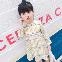 宝宝连衣裙夏装2017新款小童婴儿裙韩版1-2-3-6岁女童装儿童裙子 白色 长袖黄点