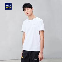 HLA/海澜之家绣花字母短袖丝光棉T恤2019夏季新品圆领套头短T男