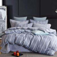 [当当自营]维众家纺纯棉四件套双人条纹床单被套 时尚风灰200*230cm