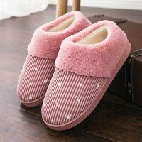 棉拖鞋女包跟厚底冬季居家居情侣室内棉拖月子拖鞋男保暖鞋毛毛鞋