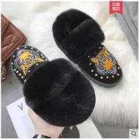 雪地靴女短靴冬季加棉保暖松糕底韩版百搭铆钉毛毛女棉鞋女鞋