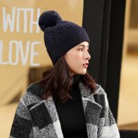 时尚毛线帽子女冬季韩版潮百搭学生加厚保暖针织帽洋气毛球帽子秋冬天